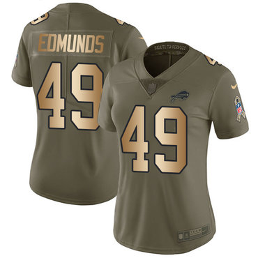 Nike Bills #49 Tremaine Edmunds Olive Gold Women's Stitched NFL Limited 2017 Salute to Service Jersey
