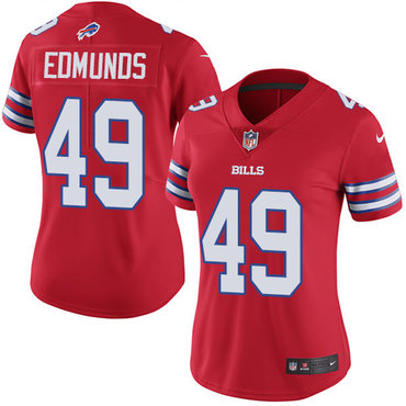 Nike Bills #49 Tremaine Edmunds Red Women's Stitched NFL Limited Rush Jersey