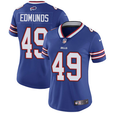 Nike Bills #49 Tremaine Edmunds Royal Blue Team Color Women's Stitched NFL Vapor Untouchable Limited Jersey