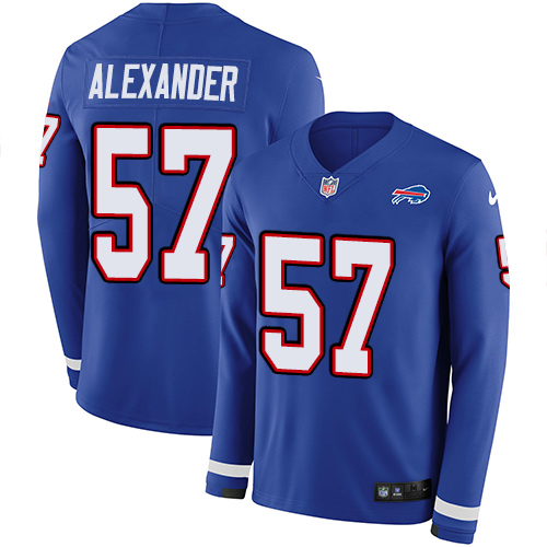 Nike Bills #57 Lorenzo Alexander Royal Blue Team Color Men's Stitched NFL Limited Therma Long Sleeve Jersey