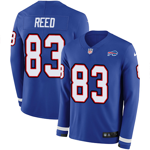 Nike Bills #83 Andre Reed Royal Blue Team Color Men's Stitched NFL Limited Therma Long Sleeve Jersey