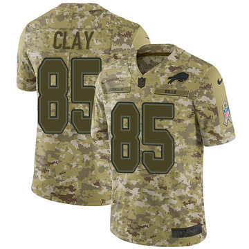 Nike Bills #85 Charles Clay Camo Youth Stitched NFL Limited 2018 Salute to Service Jersey
