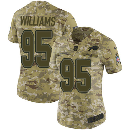 Nike Bills #95 Kyle Williams Camo Women's Stitched NFL Limited 2018 Salute to Service Jersey
