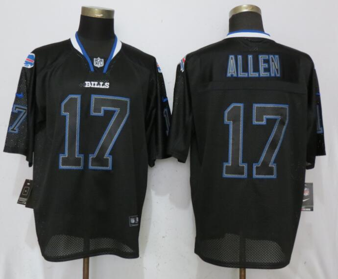 Nike Bills 17 Josh Allen Black Lights Out Elite Jersey
