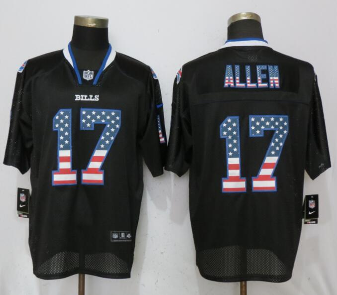 Nike Bills 17 Josh Allen Black USA Flag Fashion Elite Jersey
