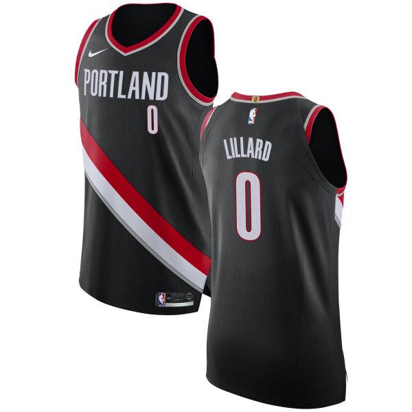 Nike Blazers #0 Damian Lillard Black NBA Authentic Icon Edition Jersey