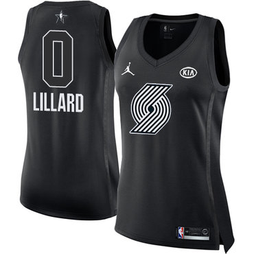 Nike Blazers #0 Damian Lillard Black Women's NBA Jordan Swingman 2018 All-Star Game Jersey