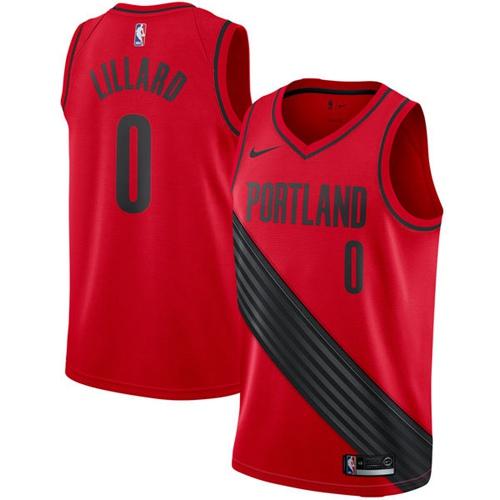 Nike Blazers #0 Damian Lillard Red Statement Edition NBA Swingman Jersey