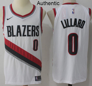 Nike Blazers #0 Damian Lillard White NBA Authentic Association Edition Jersey