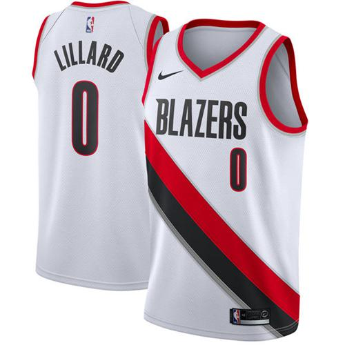 Nike Blazers #0 Damian Lillard White NBA Swingman Jersey