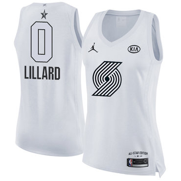 Nike Blazers #0 Damian Lillard White Women's NBA Jordan Swingman 2018 All-Star Game Jersey