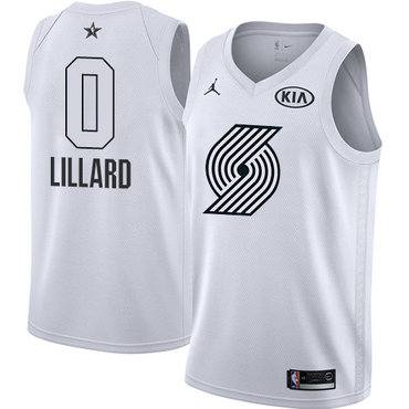 Nike Blazers #0 Damian Lillard White Youth NBA Jordan Swingman 2018 All-Star Game Jersey