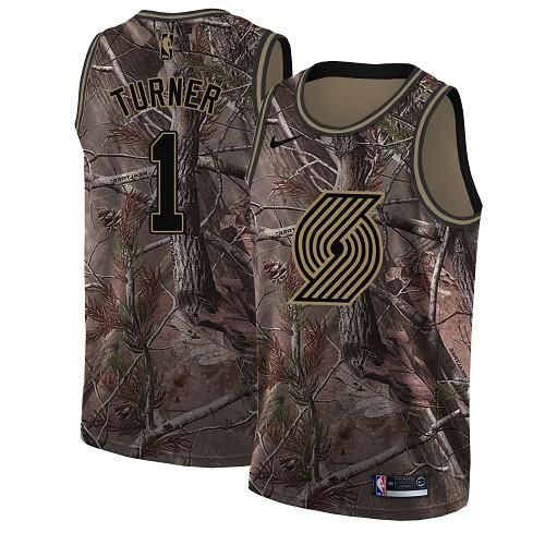 Nike Blazers #1 Evan Turner Camo NBA Swingman Realtree Collection Jersey
