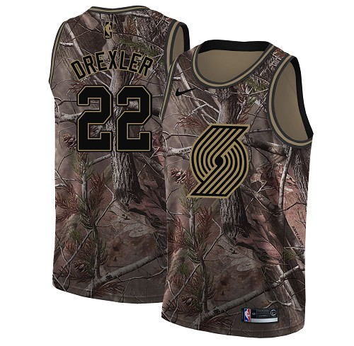 Nike Blazers #22 Clyde Drexler Camo NBA Swingman Realtree Collection Jersey