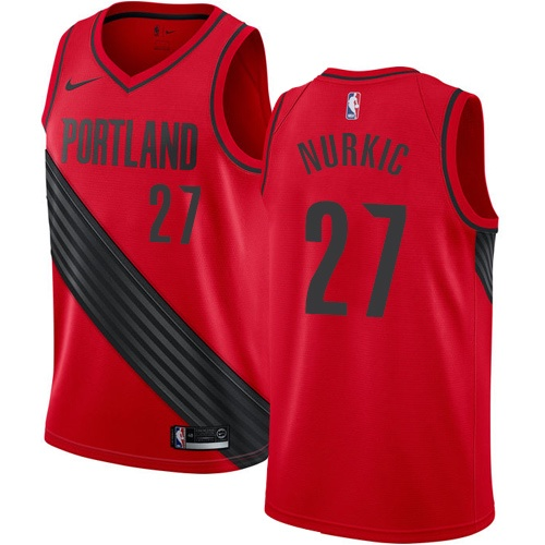 Nike Blazers #27 Jusuf Nurkic Red NBA Swingman Statement Edition Jersey