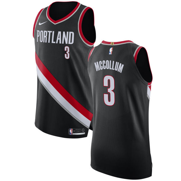 Nike Blazers #3 C.J. McCollum Black NBA Authentic Icon Edition Jersey