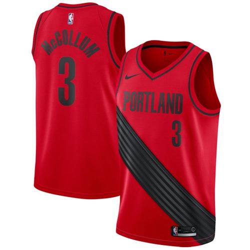 Nike Blazers #3 C.J. McCollum Red Statement Edition NBA Swingman Jersey