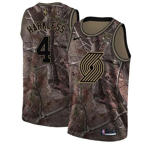Nike Blazers #4 Moe Harkless Camo NBA Swingman Realtree Collection Jersey