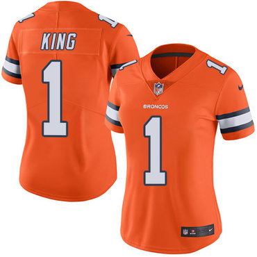 Nike Broncos #1 Marquette King Orange Women's Stitched NFL Limited Rush Jersey