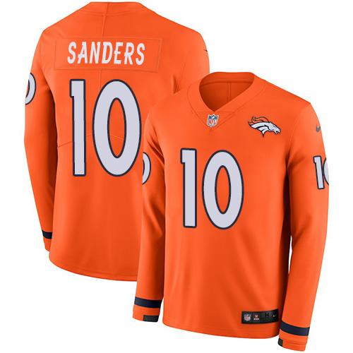 Nike Broncos #10 Emmanuel Sanders Orange Team Color Men's Stitched NFL Limited Therma Long Sleeve Jersey