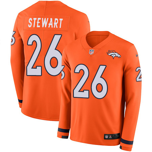 Nike Broncos #26 Darian Stewart Orange Team Color Men's Stitched NFL Limited Therma Long Sleeve Jersey