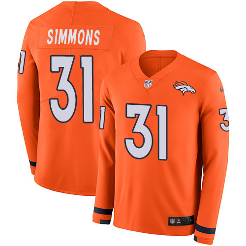 Nike Broncos #31 Justin Simmons Orange Team Color Men's Stitched NFL Limited Therma Long Sleeve Jersey