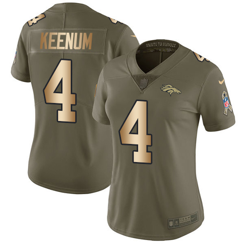Nike Broncos #4 Case Keenum Olive Gold Women's Stitched NFL Limited 2017 Salute to Service Jersey