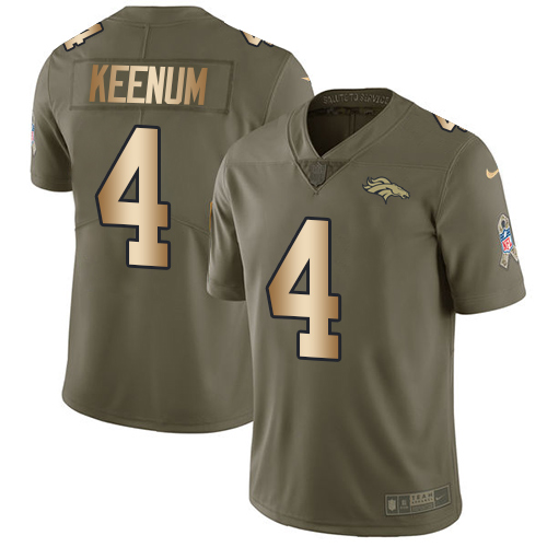 Nike Broncos #4 Case Keenum Olive Gold Youth Stitched NFL Limited 2017 Salute to Service Jersey