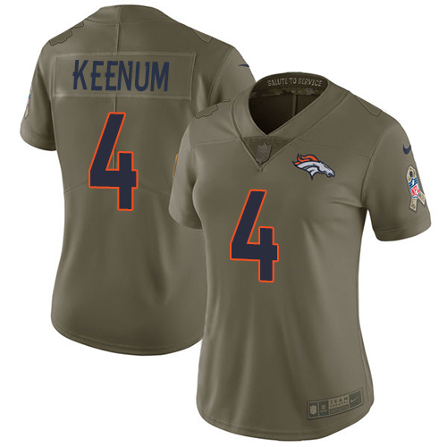Nike Broncos #4 Case Keenum Olive Women's Stitched NFL Limited 2017 Salute to Service Jersey