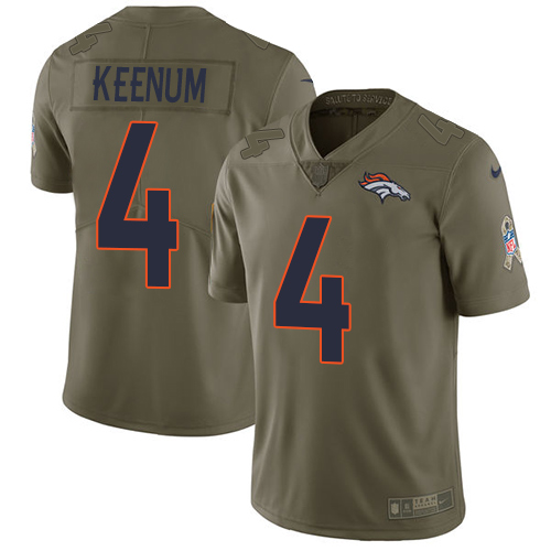 Nike Broncos #4 Case Keenum Olive Youth Stitched NFL Limited 2017 Salute to Service Jersey