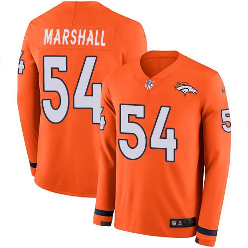 Nike Broncos #54 Brandon Marshall Orange Team Color Men's Stitched NFL Limited Therma Long Sleeve Jersey