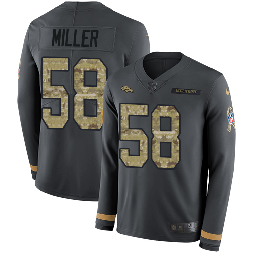 Nike Broncos #58 Von Miller Anthracite Salute to Service Men's Stitched NFL Limited Therma Long Sleeve Jersey