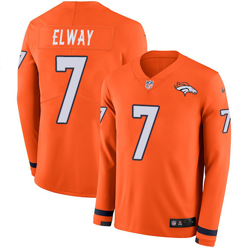 Nike Broncos #7 John Elway Orange Team Color Men's Stitched NFL Limited Therma Long Sleeve Jersey