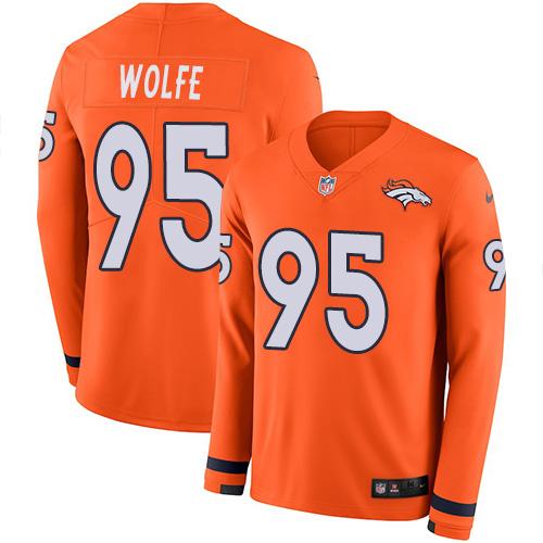 Nike Broncos #95 Derek Wolfe Orange Team Color Men's Stitched NFL Limited Therma Long Sleeve Jersey