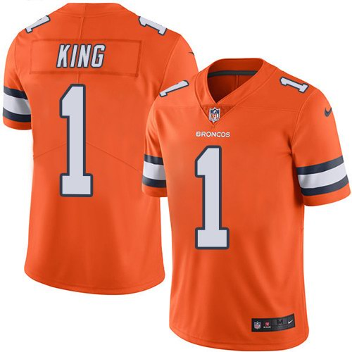 Nike Broncos 1 Marquette King Orange Color Rush Limited Jersey