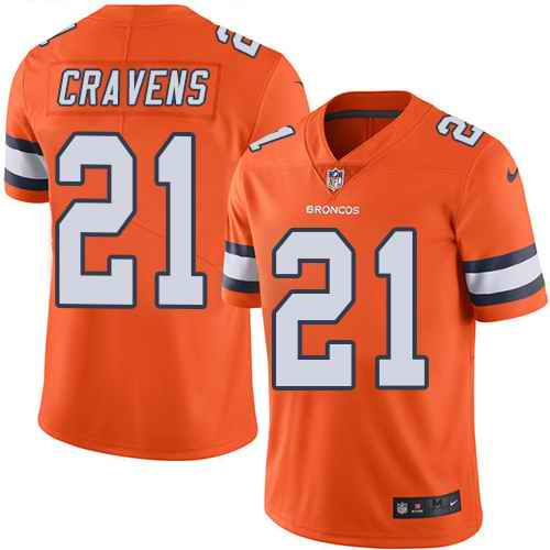 Nike Broncos 21 Su'a Cravens Orange Color Rush Limited Jersey