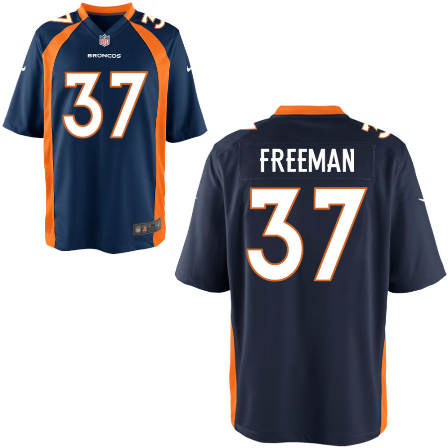 Nike Broncos 37 Royce Freeman Navy Alternate Elite Jersey