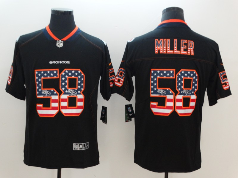Nike Broncos 58 Von Miller Black USA Flag Fashion Color Rush Limited Jersey