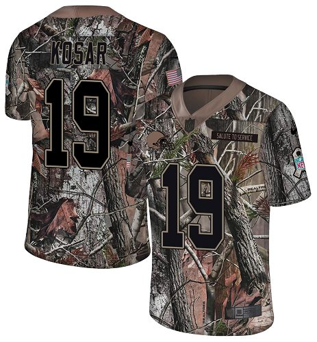 Nike Browns #19 Bernie Kosar Camo Men's Stitched NFL Limited Rush Realtree Jersey