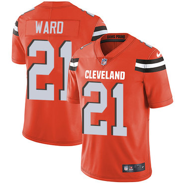 Nike Browns #21 Denzel Ward Orange Alternate Men's Stitched NFL Vapor Untouchable Limited Jersey