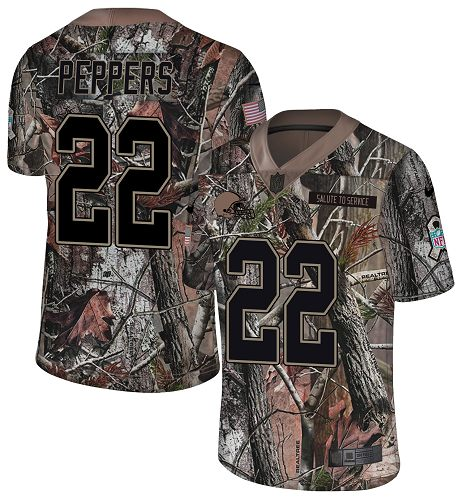 Nike Browns #22 Jabrill Peppers Camo Men's Stitched NFL Limited Rush Realtree Jersey