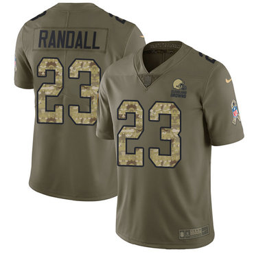 Nike Browns #23 Damarious Randall Olive Camo Youth Stitched NFL Limited 2017 Salute to Service Jersey