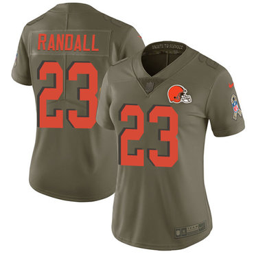 Nike Browns #23 Damarious Randall Olive Women's Stitched NFL Limited 2017 Salute to Service Jersey