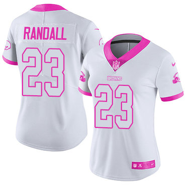 Nike Browns #23 Damarious Randall White Pink Women's Stitched NFL Limited Rush Fashion Jersey