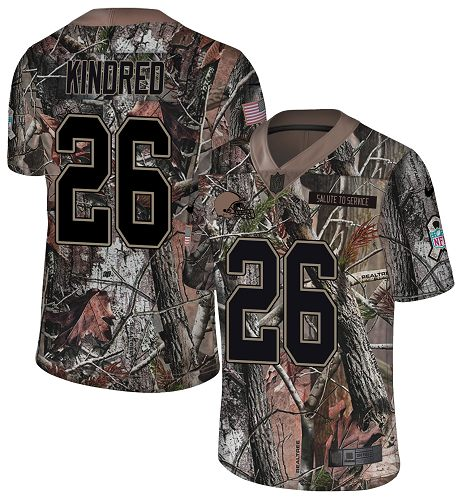 Nike Browns #26 Derrick Kindred Camo Men's Stitched NFL Limited Rush Realtree Jersey