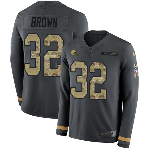 Nike Browns #32 Jim Brown Anthracite Salute to Service Men's Stitched NFL Limited Therma Long Sleeve Jersey
