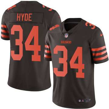 Nike Browns #34 Carlos Hyde Brown Men's Stitched NFL Limited Rush Jersey