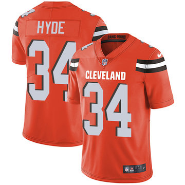 Nike Browns #34 Carlos Hyde Orange Alternate Men's Stitched NFL Vapor Untouchable Limited Jersey