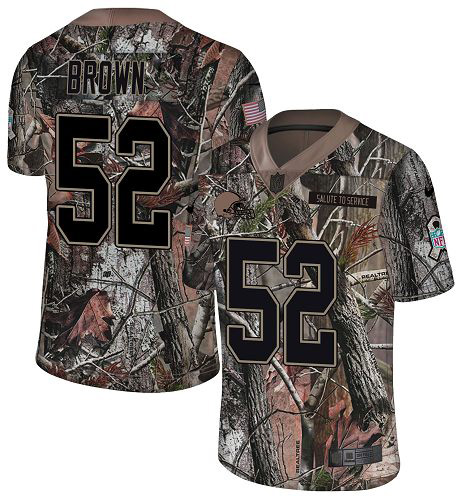 Nike Browns #52 Preston Brown Camo Men's Stitched NFL Limited Rush Realtree Jersey