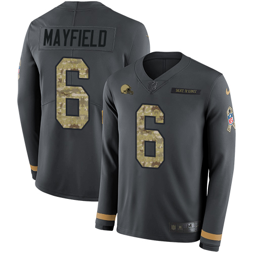 Nike Browns #6 Baker Mayfield Anthracite Salute to Service Men's Stitched NFL Limited Therma Long Sleeve Jersey